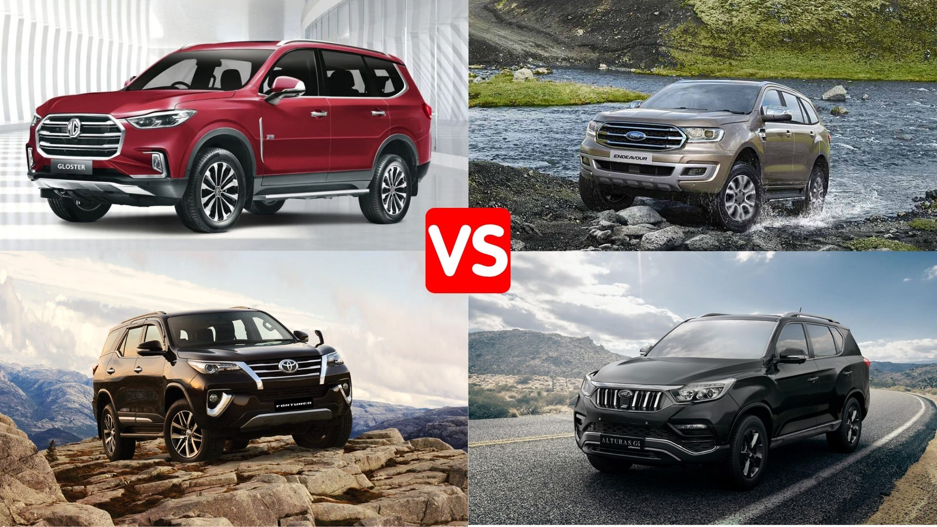 Gloster vs Fortuner vs Endeavour vs Alturas G4